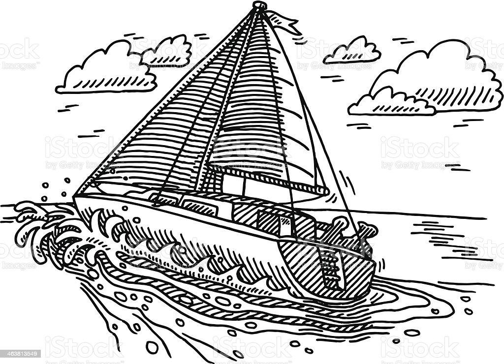 Dessin De Voilier Sur Locean Vecteurs Libres De Droits Et Plus D Images Vectorielles De Activite De Loisirs Istock