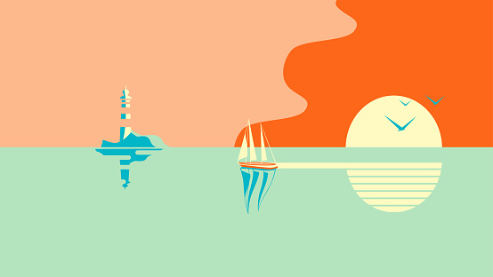 Sailboat or boat floats in the sea at sunset