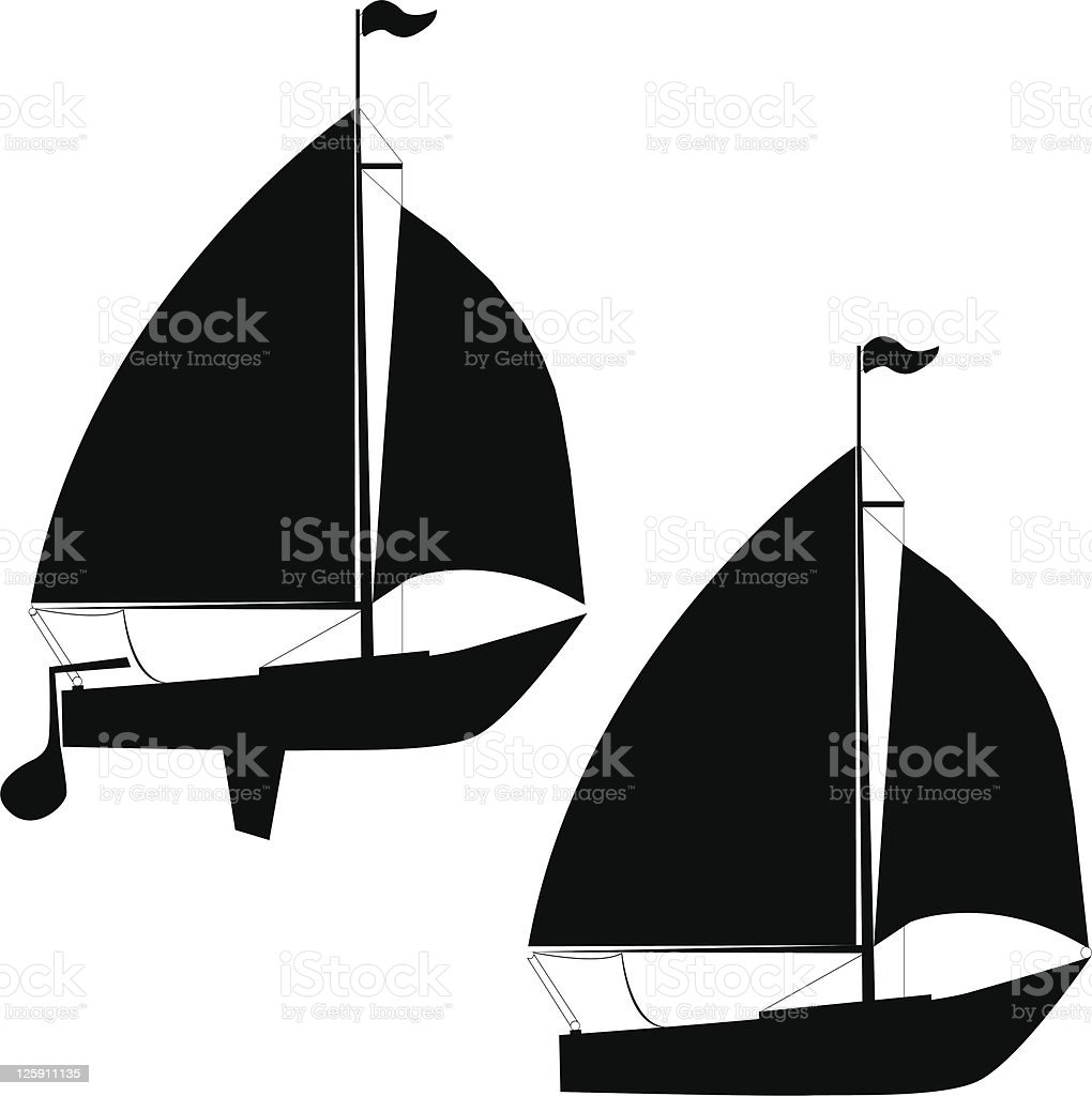 Sailboat Silhouettes royalty-free stock vector art