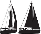 Vector silhouettes of two sailboats.
