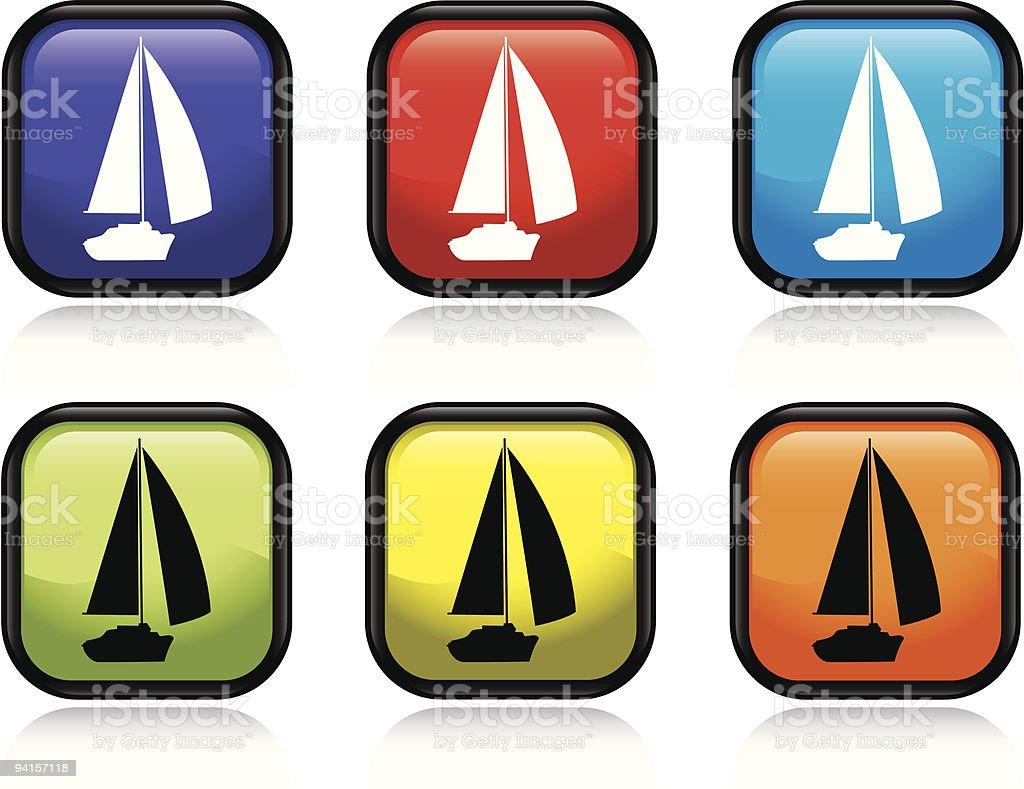 Sailboat Sunset vector art illustration