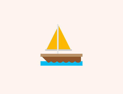 Sailboat vector icon. Isolated Sailing Boat, Yacht flat colored symbol - Vector