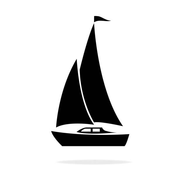 illustrations, cliparts, dessins animés et icônes de bateau à voile - bateau à voile