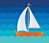 Small sailboat on ocean waves. EPS 10 file. Transparency effects used on highlight elements.