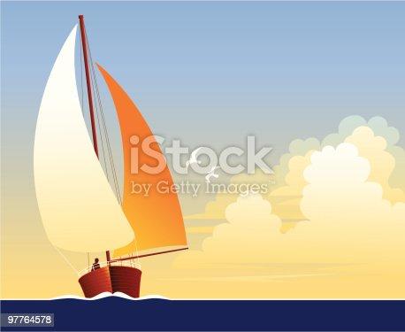 Sailboat on blue ocean against an open sky.