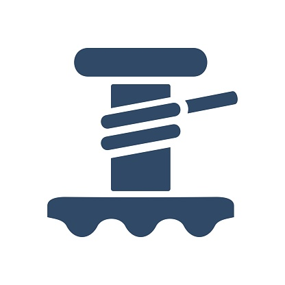Sailboat winch icon. Yacht winch sign. Flat design style.