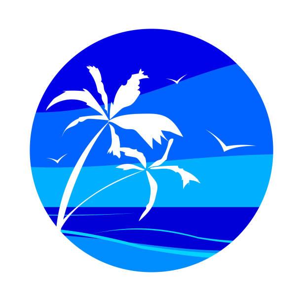 Segelboot mit tropischen Palmen gegen das blaue Meer, Ozean. – Vektorgrafik
