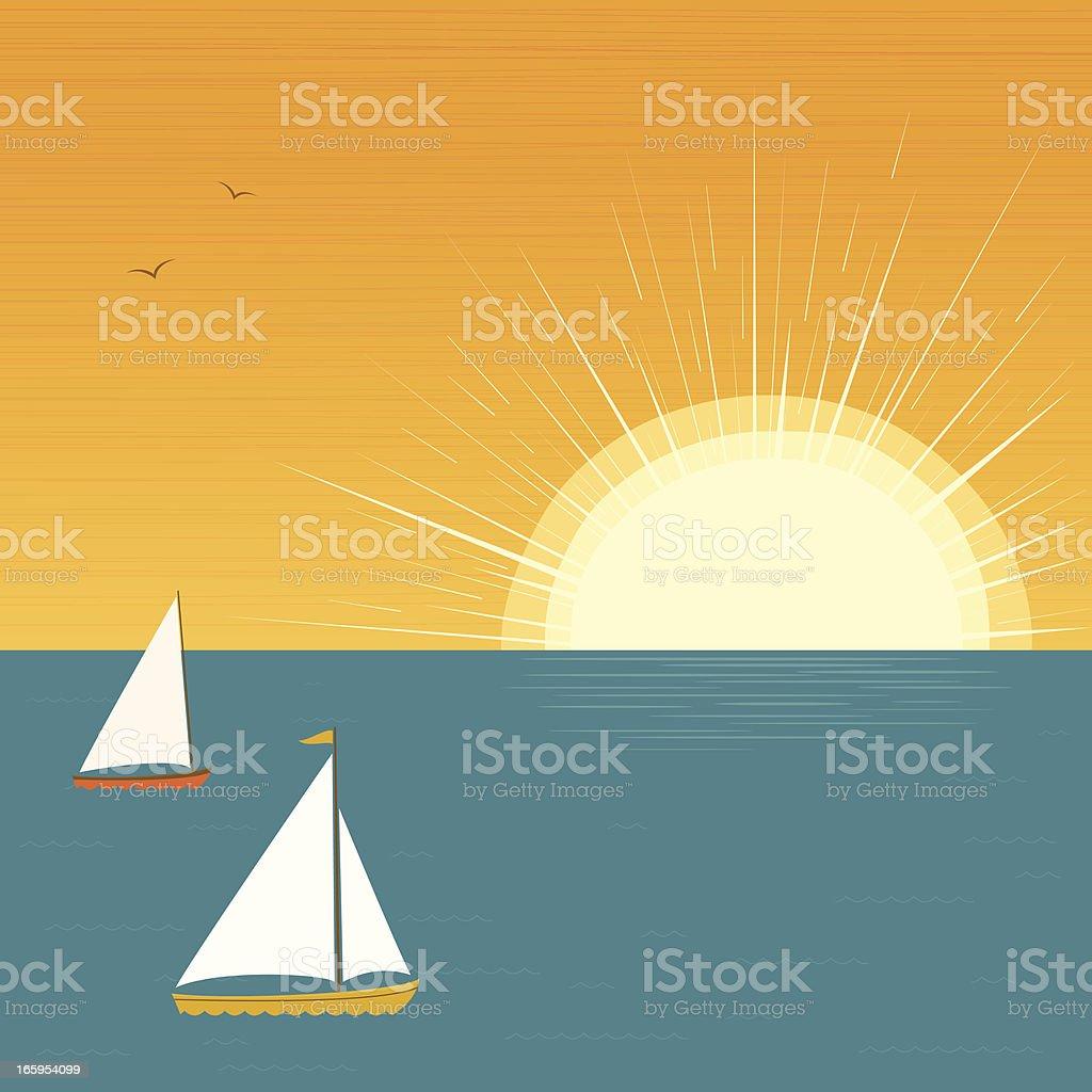 Sailboats at sunset royalty-free stock vector art