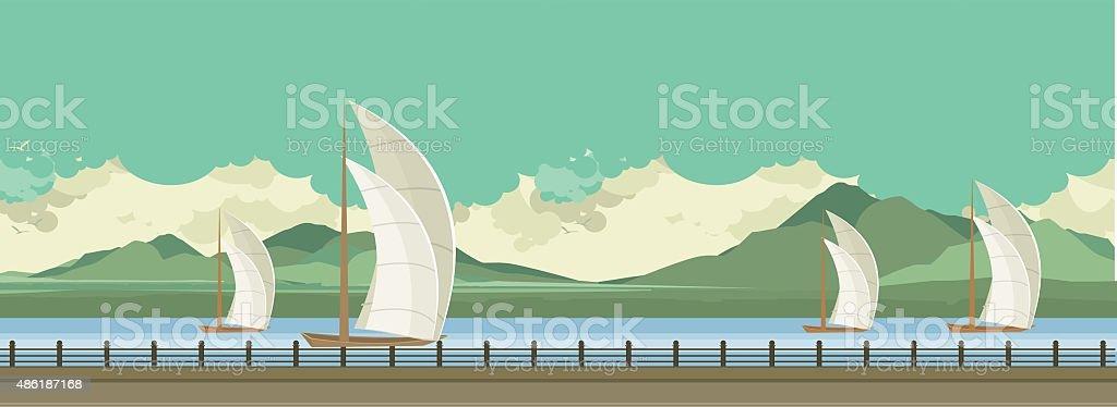 Sailboats on the water vector art illustration