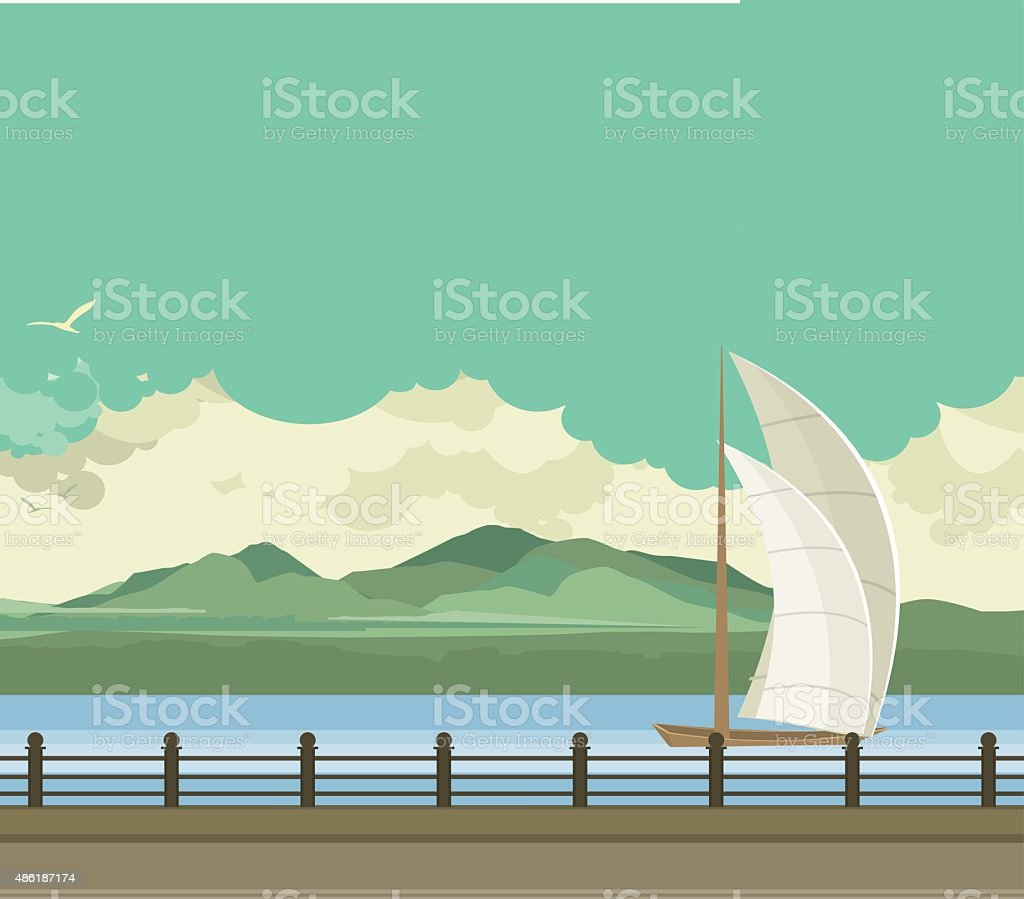 Sailboats on the water vector art illustration
