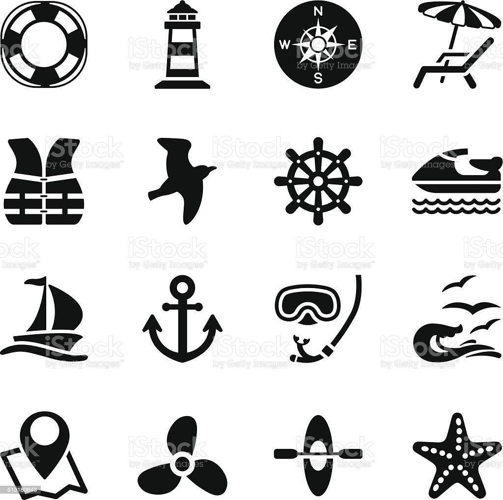 Sailing and Sea Icons vector art illustration