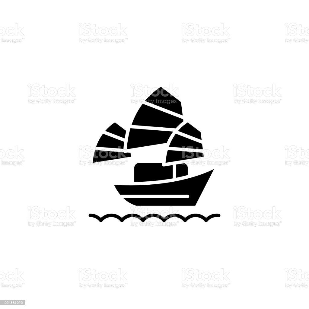 Sailing asian vessel black icon concept. Sailing asian vessel flat  vector symbol, sign, illustration. royalty-free sailing asian vessel black icon concept sailing asian vessel flat vector symbol sign illustration stock vector art & more images of ancient