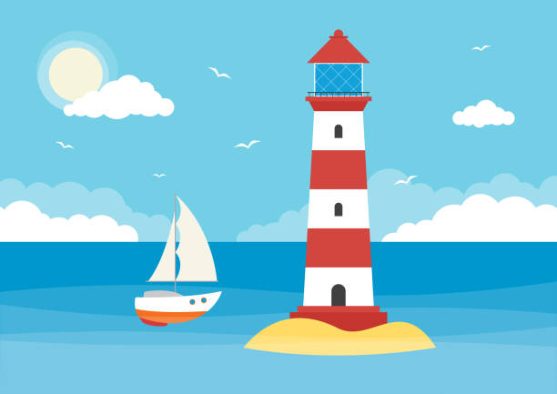 Sailing Boat and Lighthouse A sailing boat and lighthouse in an ocean on a sunny day with clouds. lighthouse stock illustrations