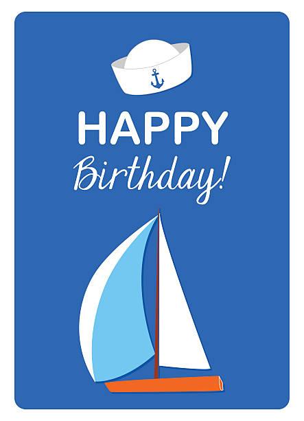 segelboot und seemann hut auf blauem hintergrund - matrosenmütze stock-grafiken, -clipart, -cartoons und -symbole