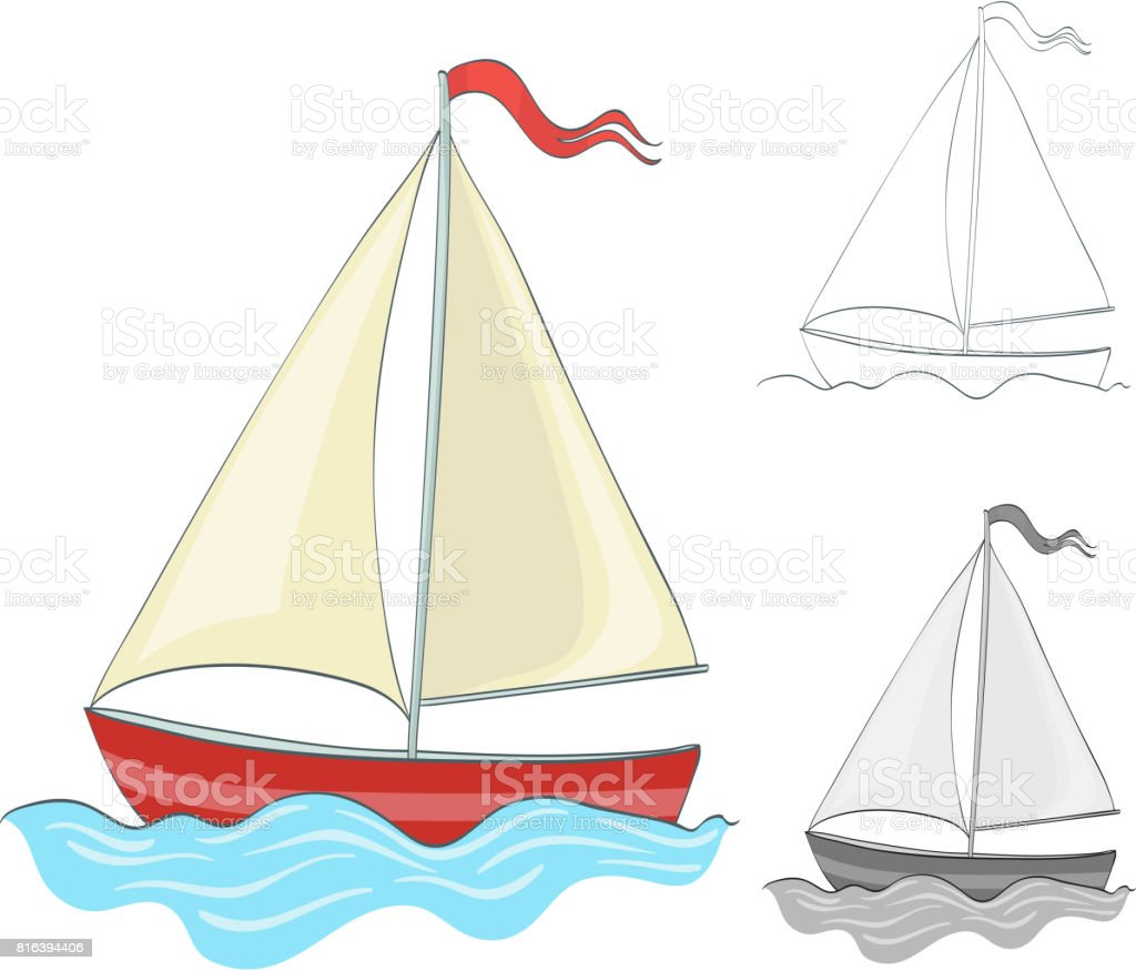 Sailing Boat Drawing With Coloring And Grayscale Version