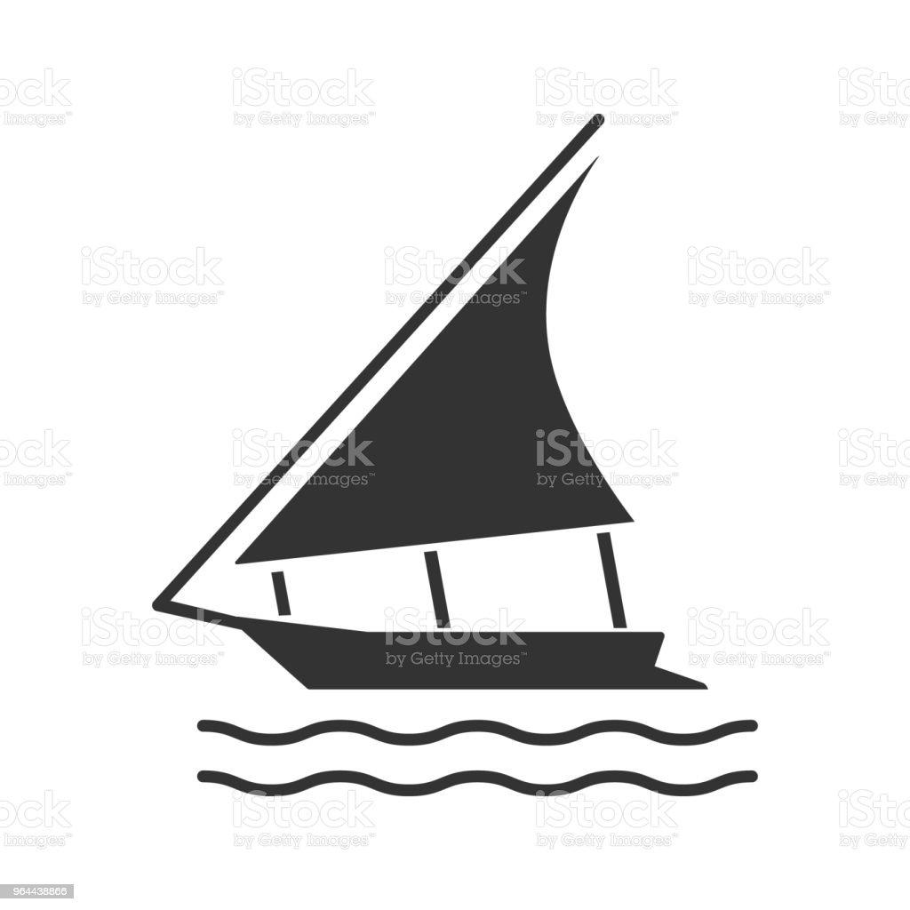 Zeilboot pictogram - Royalty-free Het verleden vectorkunst