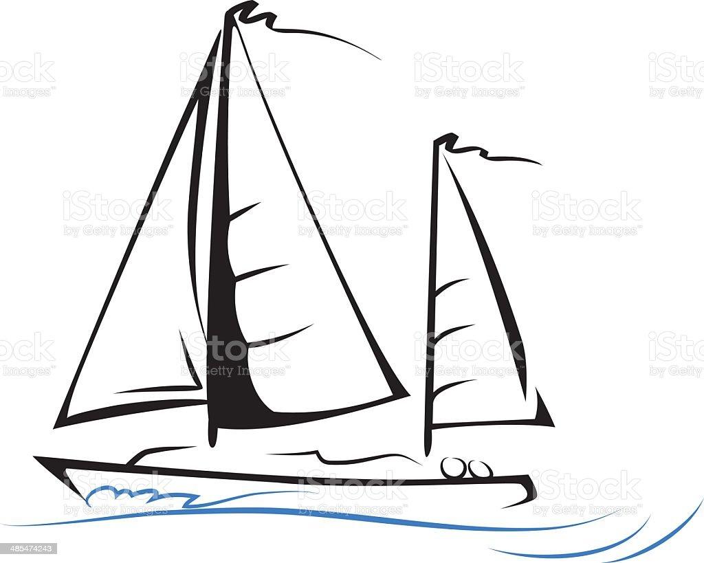 Sailing Boat. Line art. vector art illustration