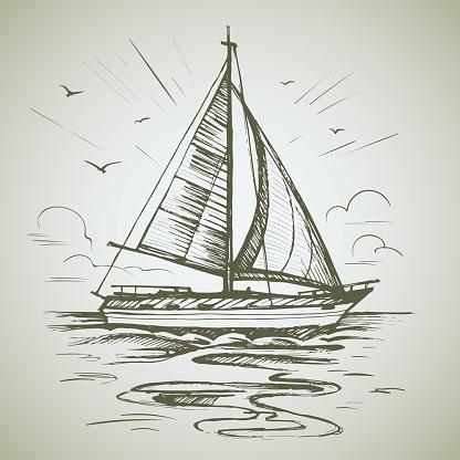 Sailing boat scene vector sketch