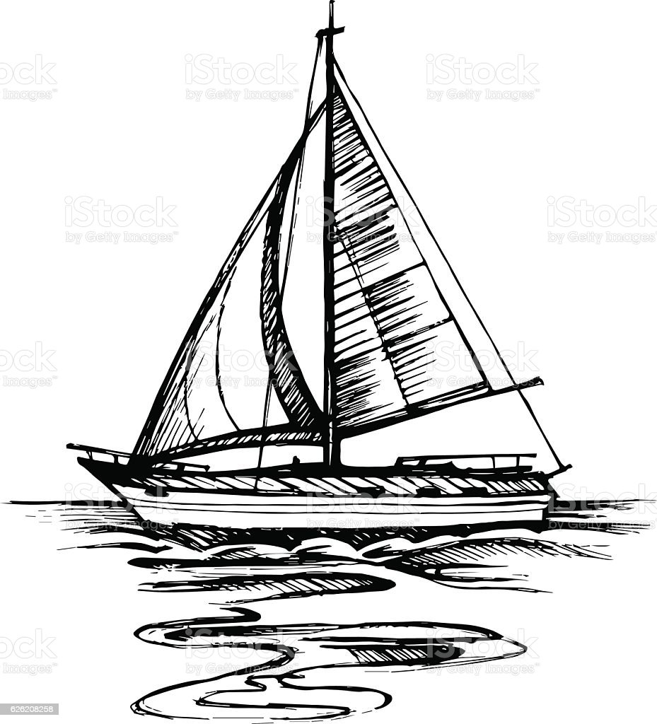 Sailing Boat Vector Sketch Isolated With Reflection Stock ...