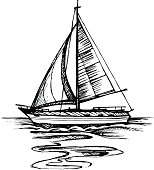 Sailing boat vector sketch isolated with reflection