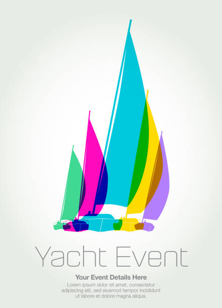 Sailing Boats or Yachts Colourful overlapping silhouettes of sailing boats or Yachts sail stock illustrations