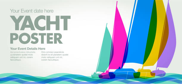 Sailing Boats or Yachts Colourful overlapping silhouettes of sailing boats or Yachts sailboat stock illustrations
