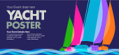 Colourful overlapping silhouettes of sailing boats or Yachts