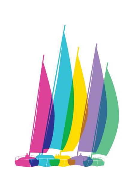 Sailing Boats vector art illustration