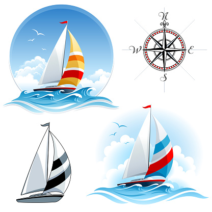 Sailing boats with compass