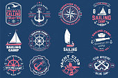 Sailing camp badge. Vector illustration. Concept for shirt, print, stamp or tee. Vintage typography design with man in sailboats silhouette. Sailing on small boat. Ocean adventure. Classic water sport