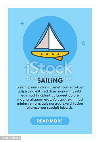 Sailing charters web banner illustration with icon. Modern flat concept for website or infographics.