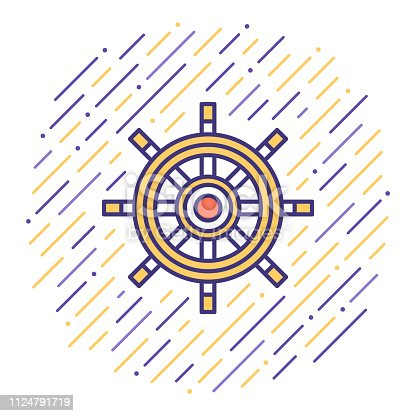 Flat line vector icon illustration of sailing cruise travel with abstract background.