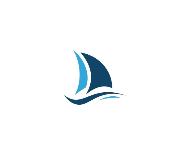 Sailing emblem vector art illustration