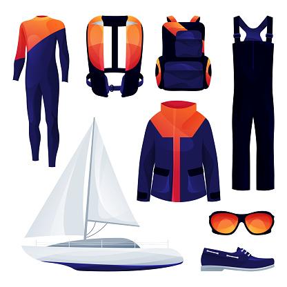Sailing equipment, sport tools set. Vector icons