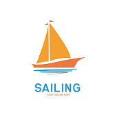 sailing icon on white background, vector illustration