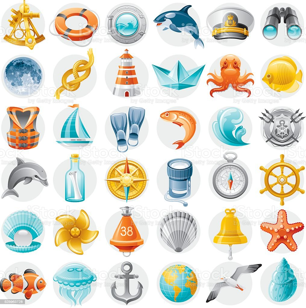Sailing icon set vector art illustration