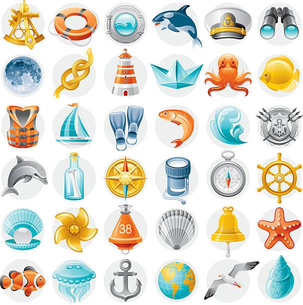 ilustrações de stock, clip art, desenhos animados e ícones de conjunto de ícones de vela - sextante