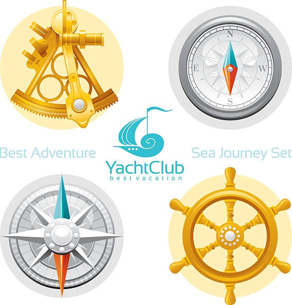 ilustrações de stock, clip art, desenhos animados e ícones de vela conjunto de ícones com o logótipo - sextante