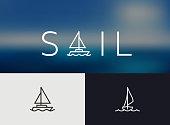 Sailing Icon, simple Monoline concept