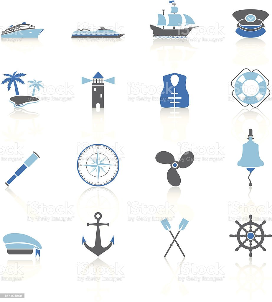 Sailing Icons - Blue Series royalty-free sailing icons blue series stock vector art & more images of anchor - vessel part