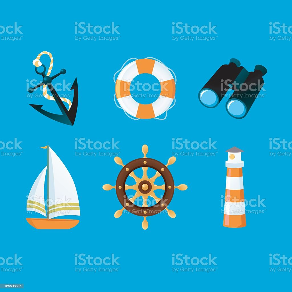 Sailing icons on a blue background vector art illustration