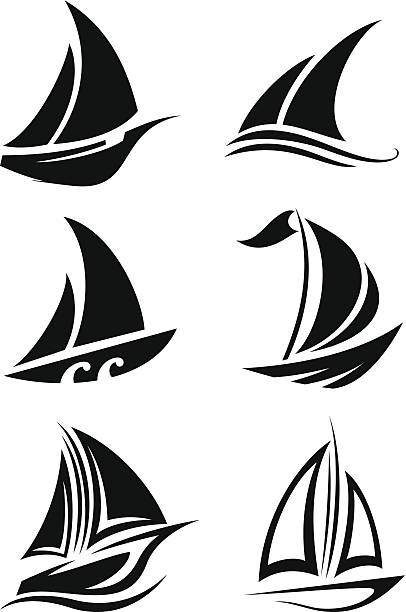 Sailing icons vector art illustration
