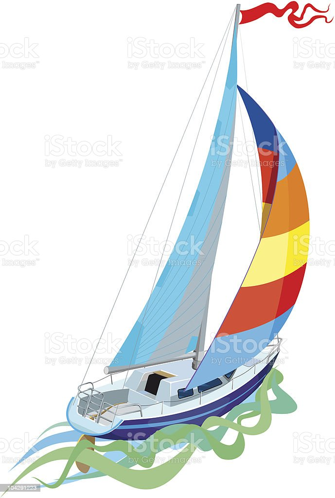 Sailing in yacht royalty-free stock vector art