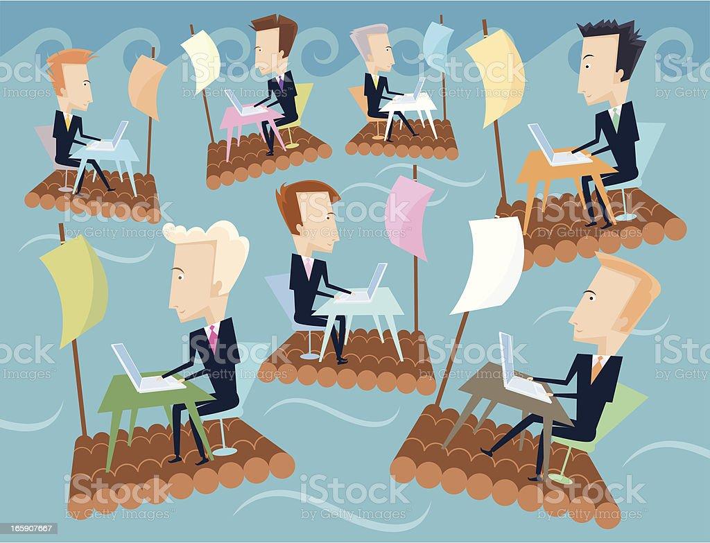 Sailing offices. vector art illustration