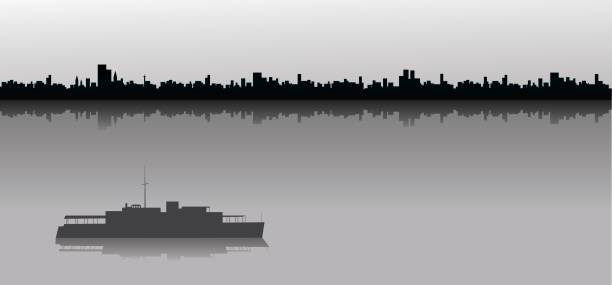 Sailing ship and city skyline Ship sailing at sea with a silhouetted city skyline in the background. waterfront stock illustrations