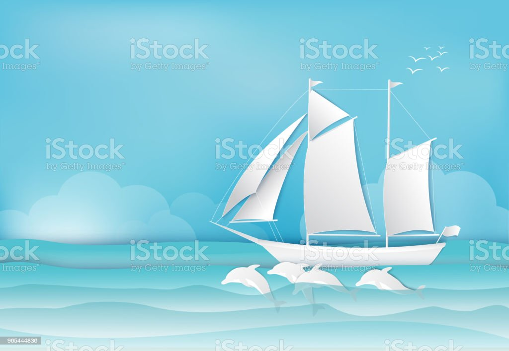 Sailing ship and Dolphin in the sea background paper art, paper craft style illustration royalty-free sailing ship and dolphin in the sea background paper art paper craft style illustration stock illustration - download image now