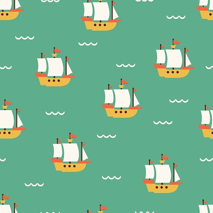 Sailing Ship and Summer Sea Vector Graphic Seamless Pattern