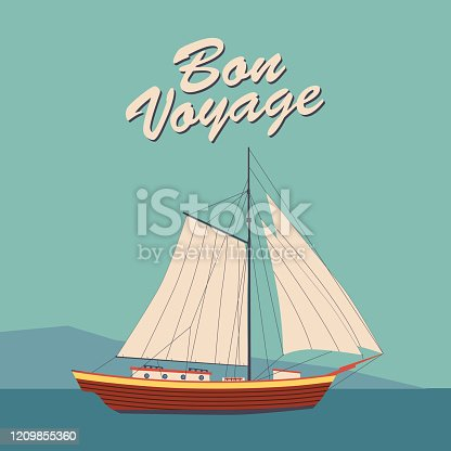 Sailing ship banner retro vintage with text Bon Voyage. Nautical ocean sailing yacht or traveling. Vector illustration isolated