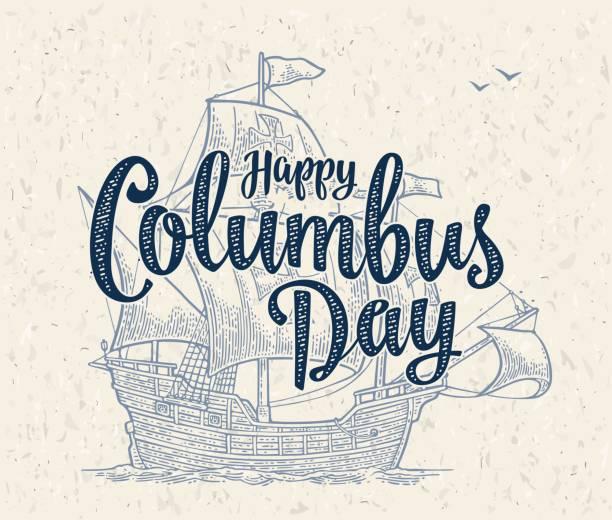 바다 파도에 떠 있는 배를 항해. 캐 러 벨 산타 마리아입니다. - columbus day stock illustrations