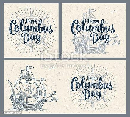 istock Sailing ship floating on the sea waves. Caravel Santa Maria. 1050856062